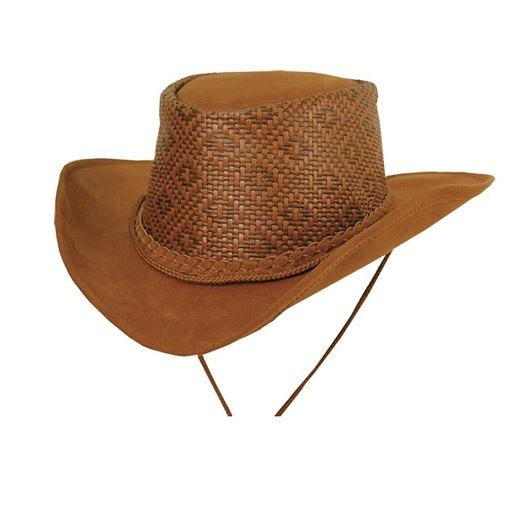 Sydney Waxed Leather Cowboy Hat from Down Under with Round Braid Hatband