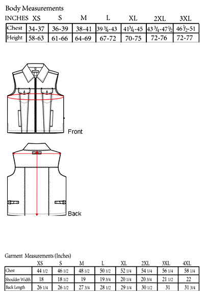 The Cooma Vest Sizing