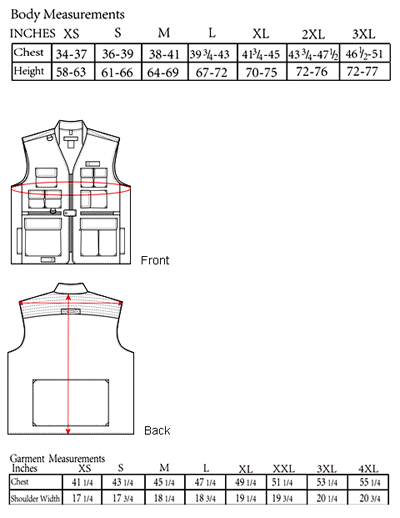 The Concealed Carry Delta Vest Size Chart