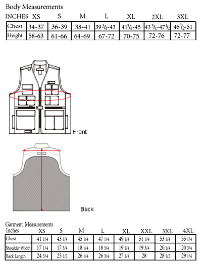 The Traveller Vest Sizing